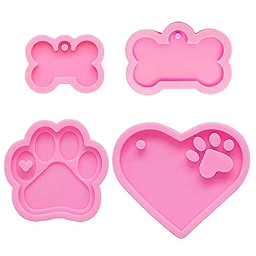 COMEYER 4 piezas perro pata hueso llavero resina epoxi molde DIY collar colgante silicona