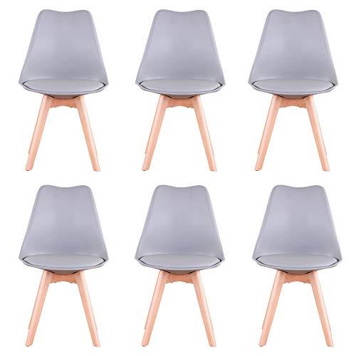 Uderkiny Conjunto de 4/6 sillas Sillas de Comedor con Cojines y Patas de Haya aptas para Comedor salón Cocina Oficina, etc (Gris-6)
