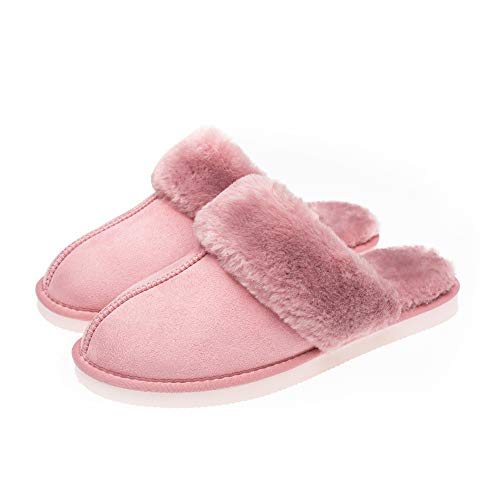 Tailansky Women's Slippers Comfortable, Artificial Fur Flat Bottom Shoes and Memory Foam Sole Leather, Non Slip and Breathable, Keep Warm in Winter Indoor and Outdoor Pink