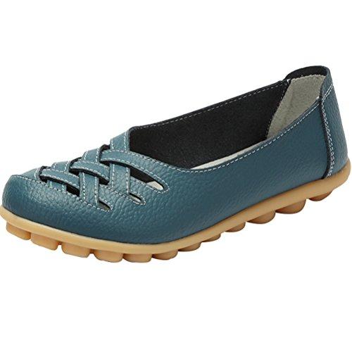 Vogstyle Damen Neu Hohl Mokassins Flach Loafer Slipper Schuhe Blue UK7-7.5/EU41-42/CH42
