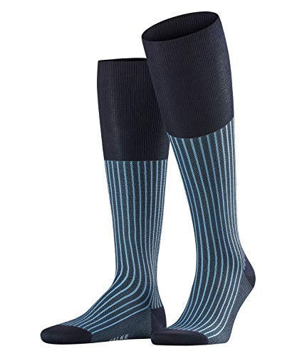 Falke Herren Kniestrümpfe Oxford Stripe, Blau (Dark Navy 6375), 45-46