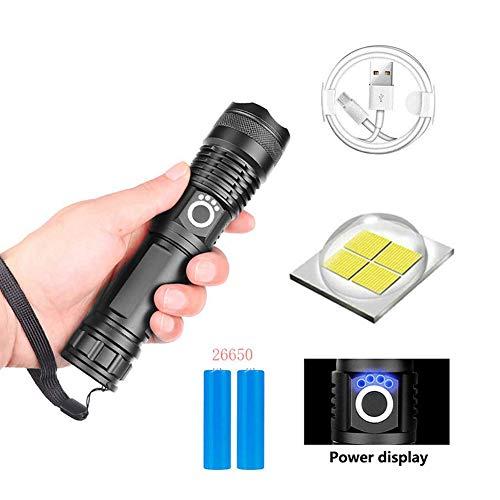 90000 Lumen Xhp70.2 Xlamp, 90000 Lúmenes Xhp70.2 La linterna LED más potente Linterna con zoom USB Xhp70, Zoom USB telescópico Linterna de camping a prueba de agua (Linterna Xhp50 + 26650 + cable USB)
