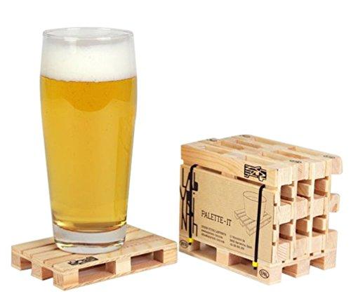 Design Studio Labyrinth Barcelona Palette-It - 10er Set Untersetzer aus Holz für Gläser - Glasuntersetzer für Getränke, Bar und Tassen