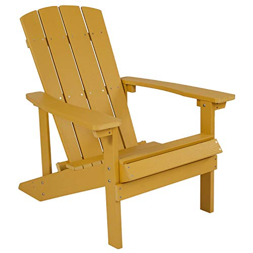 Flash Furniture Charlestown All-Weather Adirondack Chair in Yellow Faux Wood