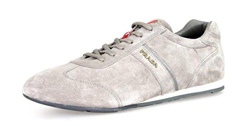 Prada Herren Grau Leder Sneaker 4E2778 O53 F0276 41.5 EU/UK 7.5