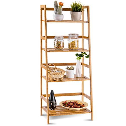 COSTWAY 47.5'' Bamboo Ladder Shelf Multifunctional Plant Flower Display Stand Storage Rack Bookcase Bookshelf Natural (4 Tier)