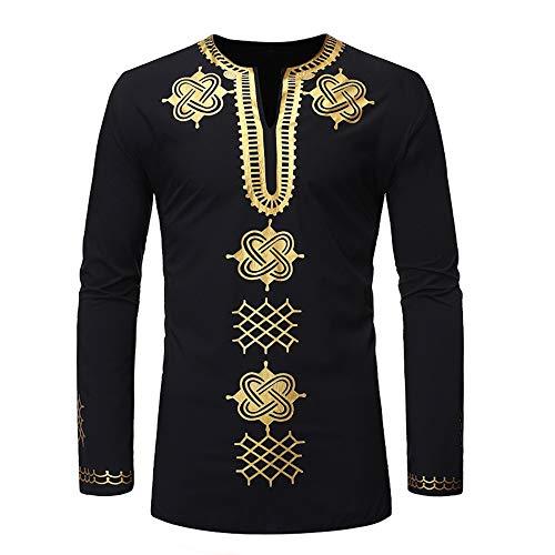 Herren Hemd Afikanisch Stil mit V-Ausschnitt Traditionell Langarm Shirt Indische Traditionelle Hoodie Top Kleidung