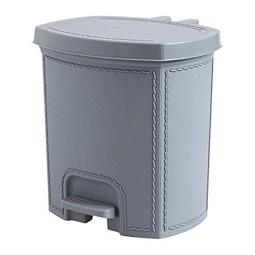 Xcwsmdq Mülleimer Lederimitat-Trash Can Fußpedal Typ Papierkorb Kunststoff-Mülltonne Mülleimer Küche Wohnzimmer Garbage Lagerplatz Can Reinigungsmittel (Color : Grey L)