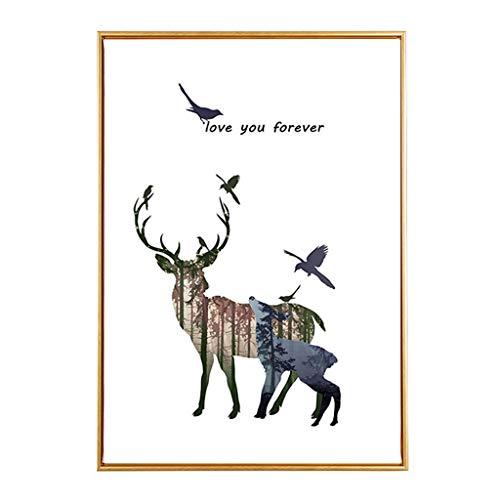 HHGO muurschildering kunst deco, moderne wanddecoratie dier eland verf voor woonkamer slaapkamer keuken kantoor hal, stretching en frame klaar om op te hangen