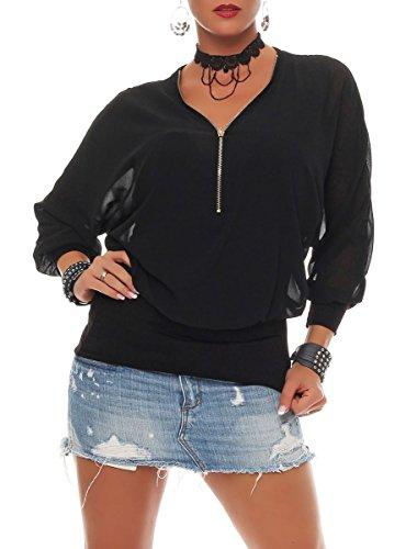 Malito Damen Bluse im Fledermaus Look | Tunika mit Zipper | Kurzarm Blusenshirt mit breitem Bund | Elegant - Shirt 6297 (schwarz)
