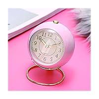デスクトップの時計 ラウンドクロック3.5インチラウドアラーム時計/ライトラグジュアリーメタルスタイル/ベッドルームアラーム時計/サイレント、ベッドサイドのナイトライト/子供時計、 卓上装飾時計 (Color : Pink)