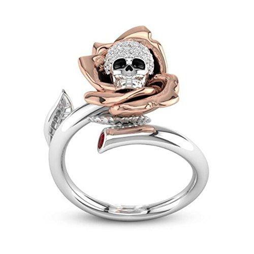 PULABOMore Fashion More Beauty Flower Skull Rhinestone Lega Donne Anello Aperto Monili Gotico Decorazione Regalo - US 6 Creativo e Utile