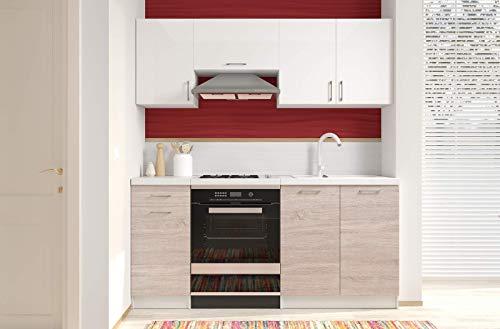 Cucina Componibile Completa da Incasso con Mobili Base e Mobili Pensili Sospesi Cucinino Moderno in Legno Laminato da 180 Cm (Bianco Lucido Laccato E Quercia Chiaro)