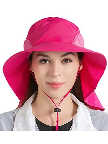 Unisex UV Protección Gorra de Safari con 33cm Largo Cuello Guardia 12cm Grande Borde para Safari Actividades al Aire Libre Pesca Acampada Jardinería - Liso Rosa Oscuro