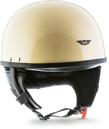 """MOTOHelmets® D22 """"Creme"""" · Brain-Cap · Halbschale Jet-Helm Motorrad-Helm Roller-Helm Retro · Fiberglas Schnellverschluss SlimShell Tasche L (59-60cm)"""