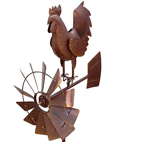 TODA Garten Windrad Metall Gartenfiguren Hingucker Windspiel Gartenstecker Hahn 50x30x150 cm