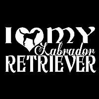 15.2CM * 7.7CM I LOVE MY LABRADOR RETRIEVERDOGビニールカーステッカーデカールブラック/シルバーC10-00320