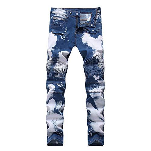 LSSM Los Pantalones Vaqueros Estiran Los Pantalones del Dril De AlgodóN De Los Hombres De La Personalidad De La Arruga De La Moda Gimnasio Hombre Pantalones Gym Pantalones Azul2 30