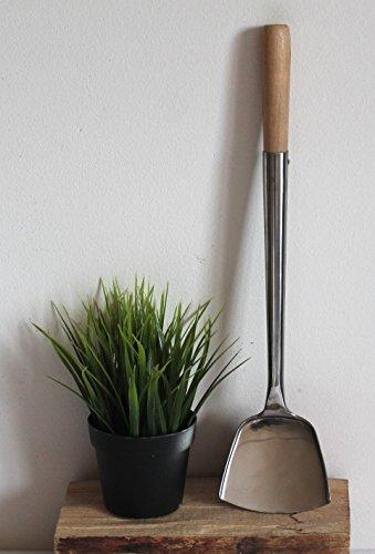 Asia Art Factory Wok Spahtel Pfannenwender flach 004 Edelstahl Größe S – 43 cm lang, Kelle 10 x 9 cm, mit Holzgriff, genietet