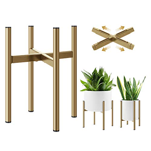 H HOMEXIN Plant Stand Indoor- Adjustable Plant Holders for 21-30CM Plant Pot(not Included), Golden Metal Plant Rack Easy Assemble, Mid Century Stable & Stylish Display for Copper,Ceramic Pot
