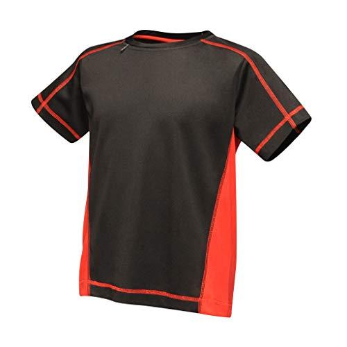 Regatta Activewar - Camiseta Beijing para niños (7-8 Años) (Negro/Rojo Clásico)