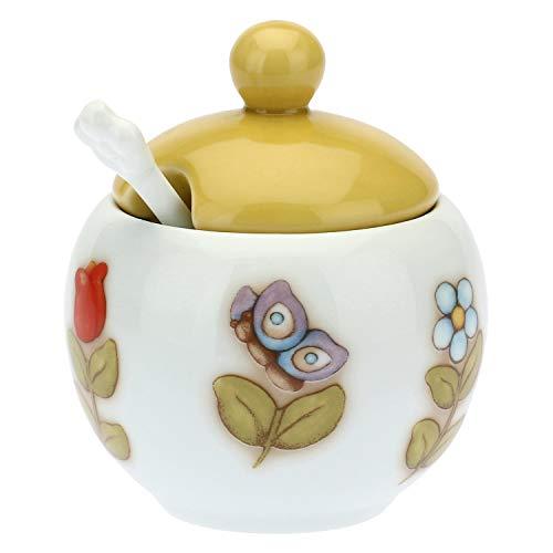 THUN ® - Set zuccheriera - Porcellana - Country - Ø 9,5 cm - h 7 cm - con Cucchiaino - 12,5 cm