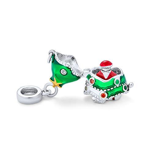Green Decorated Holiday Christmas Tree Hidden Santa Claus Locket Dangle Charm Bead For Women Teen Crystal Enamel 925 Sterling Silver Fits European Bracelet