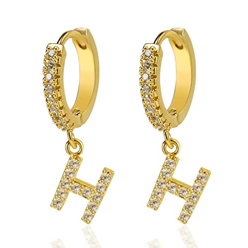 Initial Earrings,Gold Drop Dangle Hypoallergenic Cartilage Earrings with Cubic Zircoina Name Initial Alphabet Letter Charm for Women Girls Kids (H)