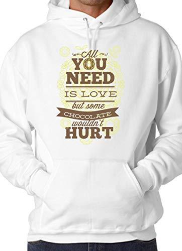 alles wat je nodig hebt is liefde maar sommige chocolade zou pijn wit unisex hoodie