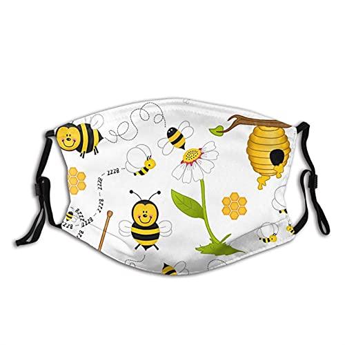 asdew987 Funny Bee Bumblebee - Máscara facial de algodón ajustable para mujer, color amarillo