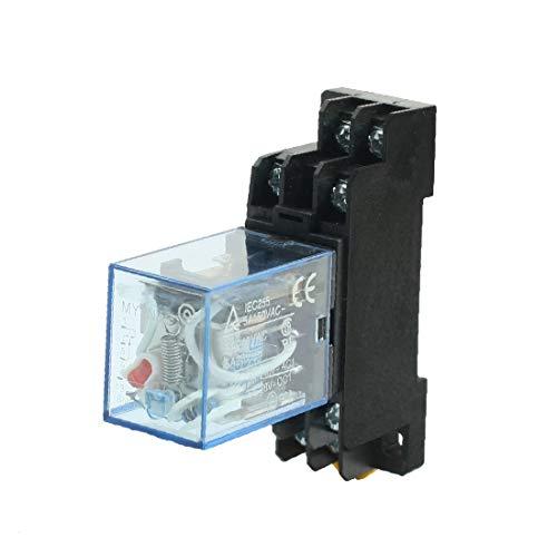 X-DREE AC110/120V Coil Red Pilot Lamp DPDT Power Relay 5A w DIN Rail Socket(AC110 / 120V Bobina roja Piloto piloto DPDT Relé de potencia 5A con conector de riel DIN
