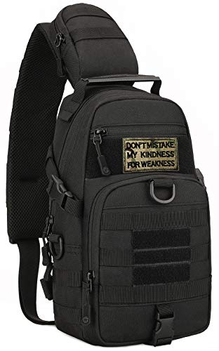 Mochila táctica militar MOLLE Crossbody Packs pecho hombro mochila EDC pañales mochila escolar moto bicicleta mochila diaria negro (parche incluido)