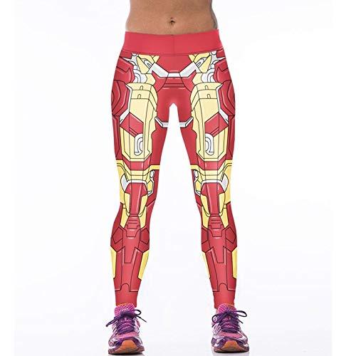 MAOYYMYJK Mode Iron Man Frauen Hohe Taille Fitness Hosen 3D Gedruckt Stretch Fitness Leggings