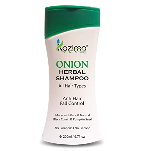 KAZIMA ONION HERBAL Shampoo 200ML with Multi Vitamins & Milk Proteins (All Types of Hair) For Anti Hair Fall Control, Hair Strengthening With Onion juice, Argan & Almond Oil (Volumizing - New & Improv