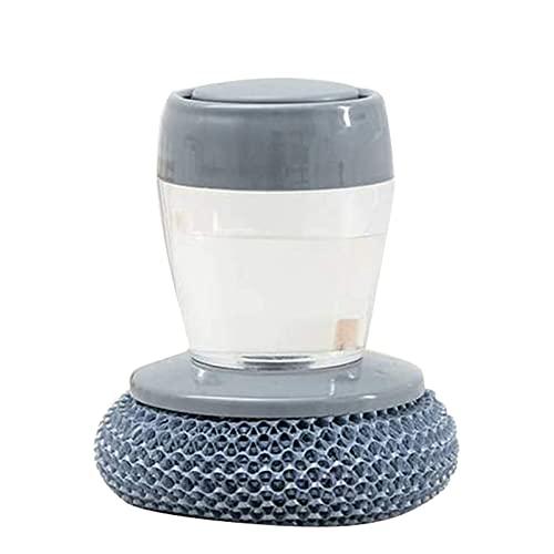 Watkings Multifuncional que presiona el cepillo de limpieza incorporado del tanque de almacenamiento de líquidos cocina lavavajillas olla cepillo
