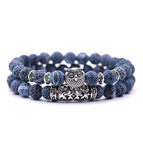 2 Stück/Set Blue Fashion Paar Eye Stone Armbänder Armreifen Classic Black White Natural Lava Stones Charm Perlen Armband Frauen Männer