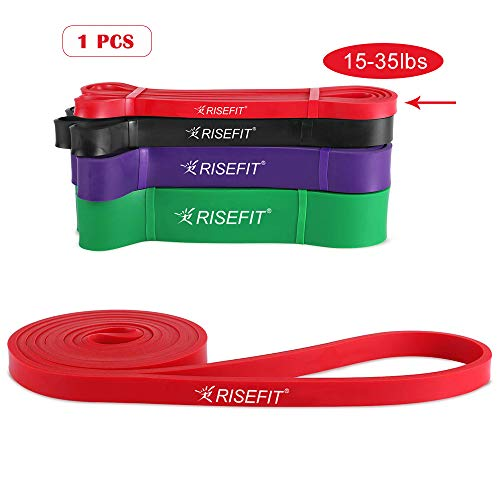 Risefit Pull Up Resistance Bands Long Workout Loop Bands for Body Stretching, Powerlifting, Fitness Training, Free Carrying Bag Home Fitness Crossfit Band for Men Women (Red)