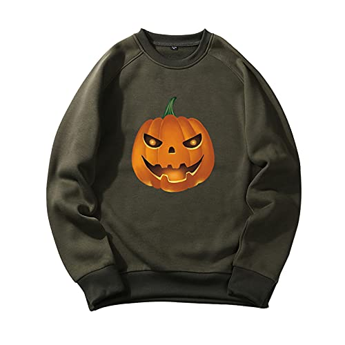 YingeFun Mens Graphics Hoodies Halloween Fleece Pullover Novelty Sport Sweatshirt Teen Plain Simple Tops Fall & Winter Army Green