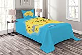 ABAKUHAUS Australien Tagesdecke Set, Karte mit Symbolic, Set mit Kissenbezügen luftdurchlässig, 170 x 220 cm, Sky Blue Yellow
