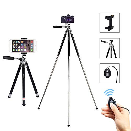 ASHANKS Phone Tripod, 43 Inch Collapsible Portable Cell Phone Tripod with Bluetooth Remote and Phone Adapter Lightweight Tripod for Smartphone iPhone, Samsung, Pixel, Gopro, Cameras