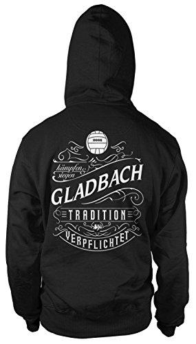 Mein Leben Gladbach Männer und Herren Kapuzenpullover | Fussball Ultras Geschenk | M1 FB (L, Schwarz)