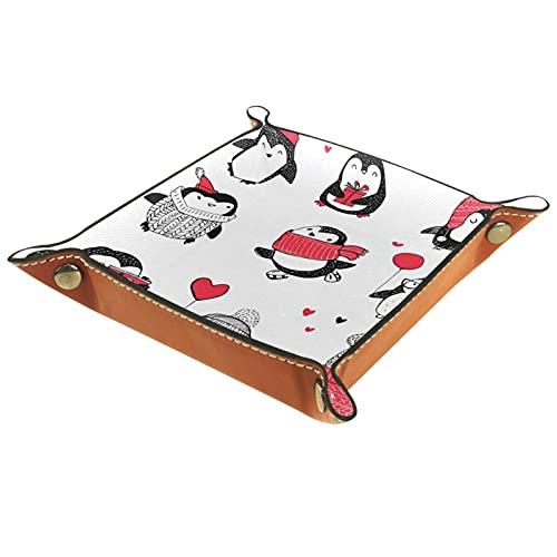 Bandeja de cuero, bandeja de joyería, organizador de almacenamiento de escritorio,Conjunto de pingüinos Bandeja de artículos diversos para cambio de teléfono con moneda y monedero con llave