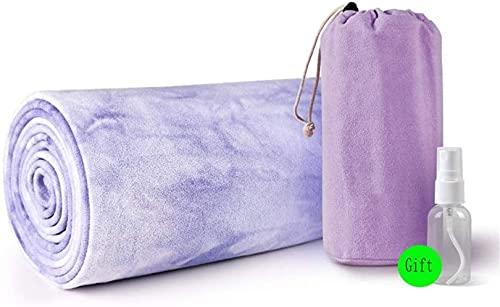 WWJ La Toalla de Microfibra Esterilla de Yoga Caliente, Antideslizante, Absorbente del Sudor, súper Suave, 183 * 67,5 cm / 72 * 26,6 Pulgadas, Ideal para Yoga Caliente y Pilates