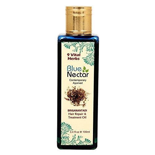 Blue Nectar Ayurvedic Bhringraj Natural Hair Repair Oil (100 ml) with Amla, Manjistha, Coconut and Sesame Oil for Deep Hydration of Hair and Scalp