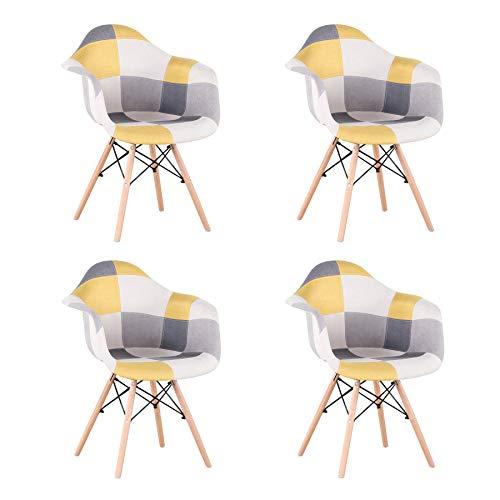 Uderkiny 4er Set Stuhl Patchwork Esszimmerstühle mit Armlehnen, Geeignet für Küche Wohnzimmer Esszimmer Schlafzimmer usw.Rot (Gelb-4)