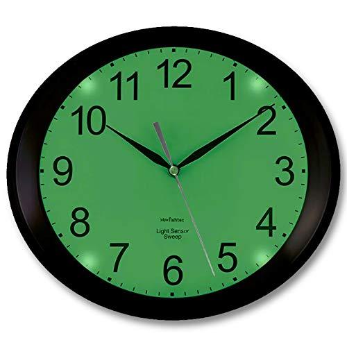 FISHTEC Orologio da Parete Ovale Luminescente con 4 LED Verdi - Rilevatore di oscurità - Silenzioso Senza Tic Tac - 3 modalità di Illuminazione : Permanente/Disattivato/Automatico - 30 CM - Nero