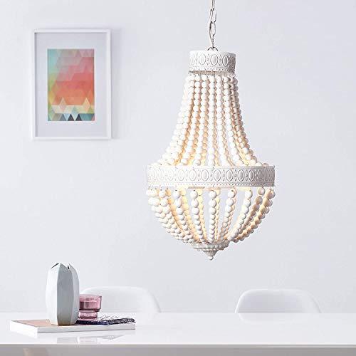 Lámpara de araña, 3 focos, 3 bombillas E14 máx. 40 W, metal y madera, color blanco