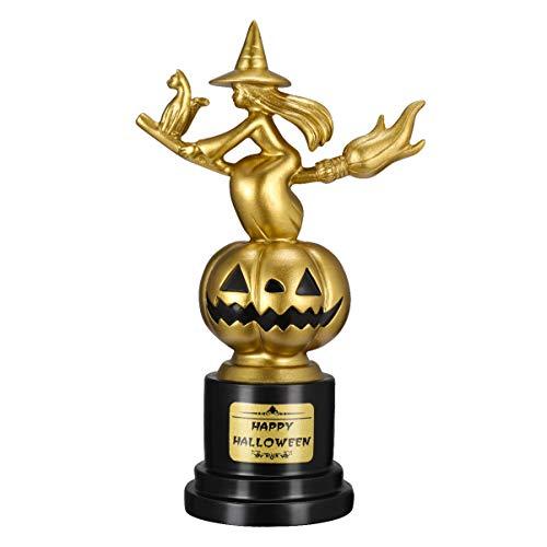 Tomaibaby 1 Trofeo de Halloween Résine Premio Trofeo de Halloween Bruja Calabaza Trofeo Meilleur Disfraz Premio Trofeo de Oro para La Competencia Ceremonia de Los Niños