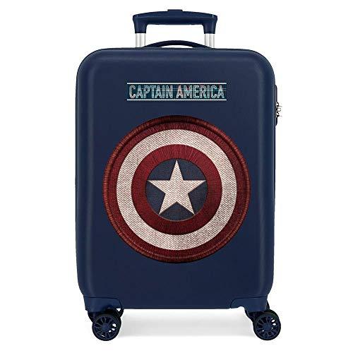 Marvel Los Vengadores Captain America Maleta de Cabina Azul 38x55x20 cms Rígida ABS Cierre combinación 34L 2,6Kgs 4 Ruedas Dobles Equipaje de Mano