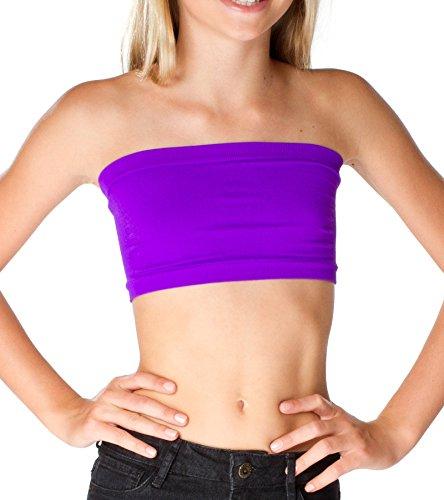 Malibu Sugar Girls (7-10) Solid Bandeau Top One Size Neon Purple